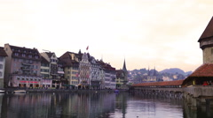 Famous wooden Chapel Bridge in Lucerne Stock Footage
