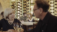 Couple taking selfie in a wine bar - stock footage