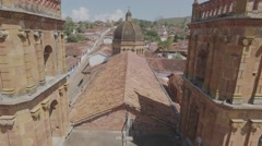 Cathedral of Barichara aerial shot Stock Footage