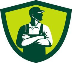 Organic Farmer Arms Folded Looking Side Crest Retro. - stock illustration