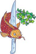 Koi Nishikigoi Carp Fish Microgreen Tail Knife Drawing Stock Illustration
