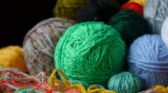 Colorful Balls Of Wool Thread For Knitting Stock Footage