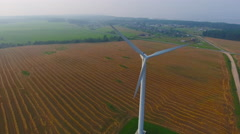 Aerial View. Beautiful windmill turbines sunset , wind energy turbines . Stock Footage