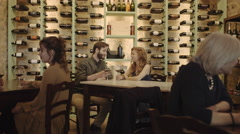 Couple on a date in wine bar - stock footage