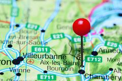 Aix-les-Bains pinned on a map of France Stock Photos