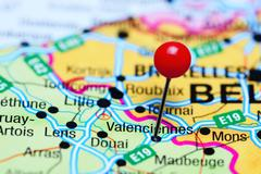 Valenciennes pinned on a map of France Stock Photos