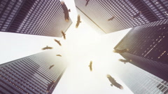 Vultures circling in down town financial district looming recession Stock Footage
