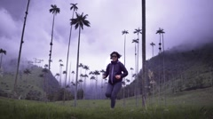 Backpacker on beautiful valley Stock Footage
