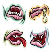Monster Mouth Set - stock illustration