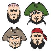 Pirate Mascot Faces Set Stock Illustration