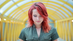 Portrait of a girl with red hair, interesting look, close up, young skin. Stock Footage