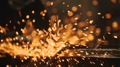 Grinding Heavy Industry Factory Worker - stock footage