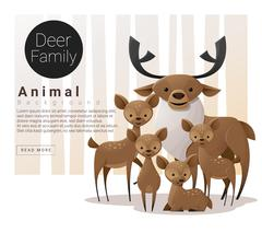 Cute animal family background with Deers Piirros