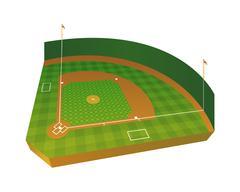 Realistic Baseball Field Illustration Stock Illustration
