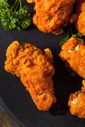 Spicy Deep Fried Breaded Chicken Wings Stock Photos