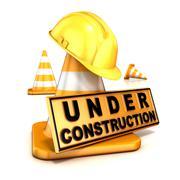 Under construction sign. 3D Stock Illustration