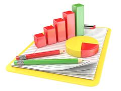 Yellow clipboard, paper, pencils and charts. 3D Stock Illustration