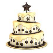 Three floor cake with vanilla and chocolate cream. 3D Stock Illustration