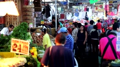 Food Market, Workers, Consumers and Produce. Stock Footage
