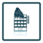 Hotel building in fire icon Stock Illustration