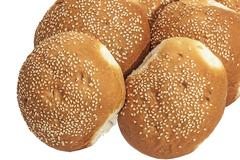 Close Up of Sesame Seed Covered Bread Rolls - stock photo
