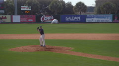 Baseball Pitcher on mound throws pitch Stock Footage