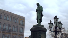 Pushkin Monument to Pushkin Square in Moscow. Lamppost, Birds Doves, Fragment Stock Footage