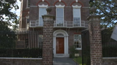 Pan Up to Historic Nathaniel Russel House, 1808 Era Stock Footage