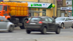 View of Cars go on the Road in the City, People go Through the Pedestrian Part Stock Footage