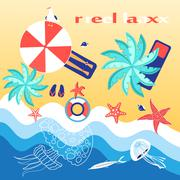 Graphics with a sea coast and beach - stock illustration