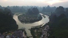 AMAZING TILT SHOT - SUNSET AT LI RIVER & MOUNTAINS IN GUILIN CHINA Stock Footage