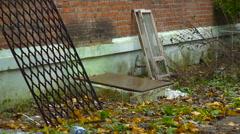 Window Frame and Building Fragment, Back Side, Decline, Devastation Stock Footage