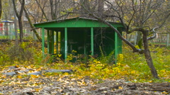Alcove, Summer House in Russia, Autumn, Yellow Leaves, Decline, Devastation Stock Footage