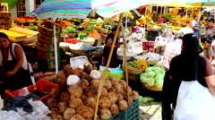 Generic image of  busy Food Market of Mexico City. Stock Footage