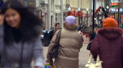 People in Jackets and Hats Walking in the City, Pedestrianized Street, Stock Footage