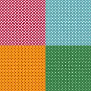Set of bright seamless patterns with dots - stock illustration