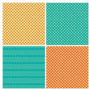 Set of 4 abstract geometry ornamental seamless patterns - stock illustration