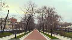 View of Alley Autumn. Trees Without Leaves, People Wide, City Stock Footage