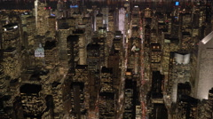 Establishing shot of modern cityscape at night. manhattan midtown scene Stock Footage