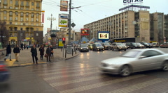 Quick Change Action. Pedestrians and Vehicles in the City. Accelerated Video, Stock Footage