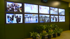 Moscow Metro Station. Control Room. Green Wall. Screens With Pictures From Stock Footage