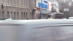 Moscow City. Crossroads. Road Traffic. Cars Turning to the Right. Tram Coming Stock Footage