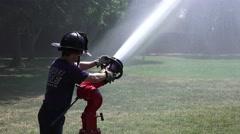 Firemen testing new equipment, new equipment Stock Footage
