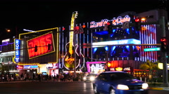Traffic in Front of Hard Rock Casino - Las Vegas Stock Footage