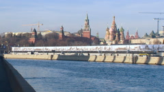 Moscow River. Concrete River Bed. Kremlin Embankment on the Other Side. Stock Footage