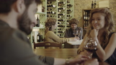 Couple on a date at wine bar - stock footage