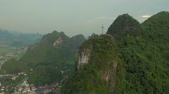 AERIAL TRACKING SHOT OF BEAUTIFUL SUNSET IN GUILIN CHINA Stock Footage