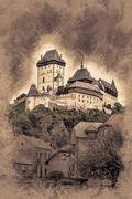 Karlstejn castle on green hill, Prague - stock illustration