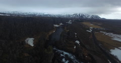 Aerial pull back over Thingvellir National Park Stock Footage