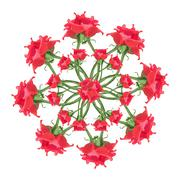 Red Roses Floral Ornament Stock Illustration